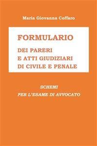 Cover Formulario dei Pareri e Atti giudiziari di Civile e Penale