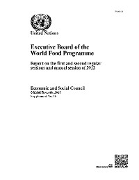 Cover Executive Board of the World Food Programme