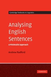 Cover Analysing English Sentences