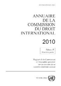 Cover Annuaire de la Commission du Droit International 2010, Vol. II, Partie 2