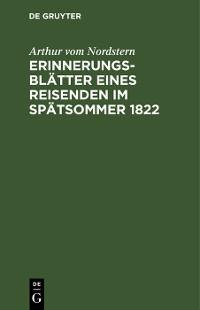 Cover Erinnerungsblätter eines Reisenden im Spätsommer 1822