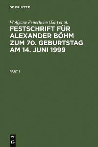Cover Festschrift für Alexander Böhm zum 70. Geburtstag am 14. Juni 1999