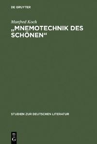 """Cover """"Mnemotechnik des Schönen"""""""