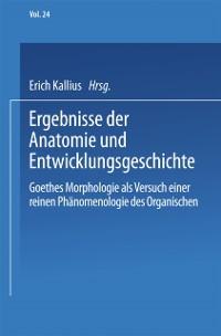 Cover Ergebnisse der Anatomie und Entwicklungsgeschichte