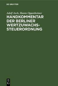 Cover Handkommentar der Berliner Wertzuwachssteuerordnung