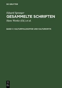 Cover Kulturphilosophie und Kulturkritik