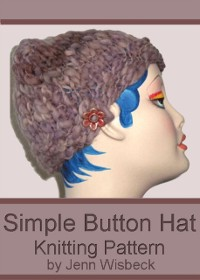 Cover Simple Button Hat Knitting Pattern