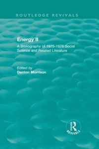 Cover Routledge Revivals: Energy II (1977)