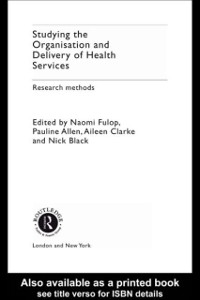 Cover Studying the Organisation and Delivery of Health Services