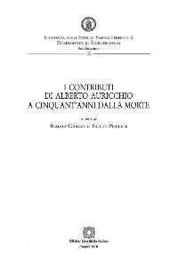 Cover I contributi di Alberto Auricchio a cinquant'anni dalla morte