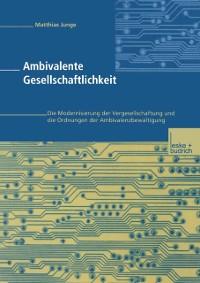Cover Ambivalente Gesellschaftlichkeit