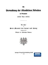 Cover Die Verwaltung der Offentlichen Arbeiten in Preussen 1890 bis 1900