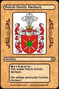 Cover The noble Polish family Herburt. Die adlige polnische Familie Herburt.