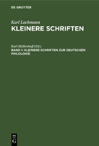 Cover Kleinere Schriften zur deutschen Philologie