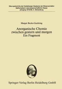 Cover Anorganische Chemie zwischen gestern und morgen Ein Fragment