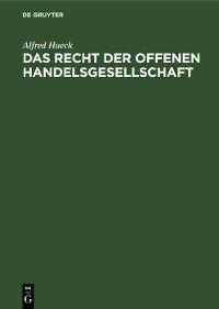 Cover Das Recht der offenen Handelsgesellschaft