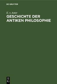 Cover Geschichte der antiken Philosophie