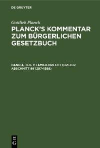 Cover Familienrecht (Erster Abschnitt §§ 1297–1588)