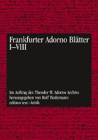 Cover Frankfurter Adorno Blätter I - VIII