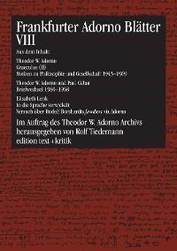 Cover Frankfurter Adorno Blätter VIII