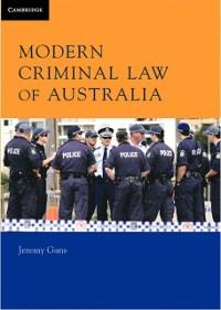 Cover Modern Criminal Law of Australia