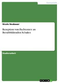 Cover Rezeption von Fachtexten an Berufsbildenden Schulen