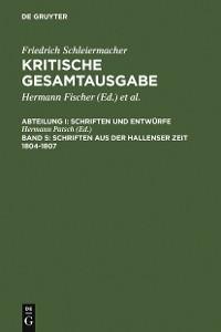 Cover Schriften aus der Hallenser Zeit 1804-1807