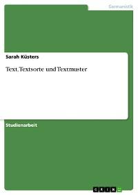 Cover Text, Textsorte und Textmuster