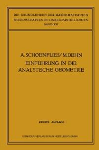 Cover Einfuhrung in die Analytische Geometrie der Ebene und des Raumes