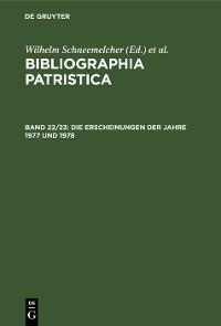 Cover Die Erscheinungen der Jahre 1977 und 1978