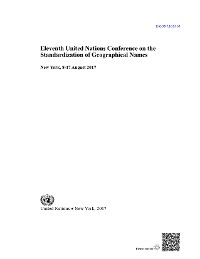 Cover Eleventh United Nations Conference on the Standardization of Geographical Names