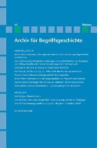 Cover Archiv für Begriffsgeschichte / Archiv für Begriffsgeschichte. Band 45
