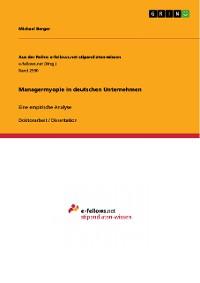 Cover Managermyopie in deutschen Unternehmen