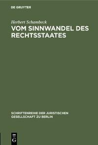 Cover Vom Sinnwandel des Rechtsstaates