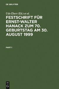 Cover Festschrift für Ernst-Walter Hanack zum 70. Geburtstag am 30. August 1999
