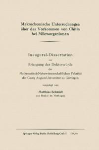 Cover Makrochemische Untersuchungen uber das Vorkommen von Chitin bei Mikroorganismen