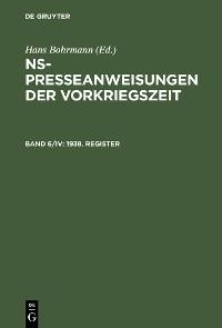 Cover 1938. Register
