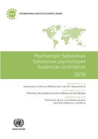 Cover Psychotropic Substances 2018/Substances psychotropes 2018/Sustancias sicotrópicas 2018