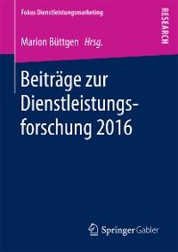 Cover Beiträge zur Dienstleistungsforschung 2016