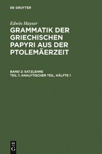 Cover Analytischer Teil, Hälfte 1