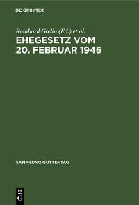 Cover Ehegesetz vom 20. Februar 1946