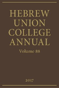 Cover Hebrew Union College Annual Volume 88