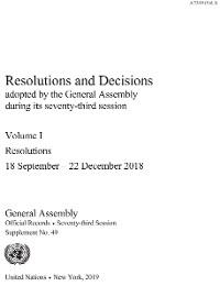 Cover Resolutions and Decisions Adopted by the General Assembly during its Seventy-third Session