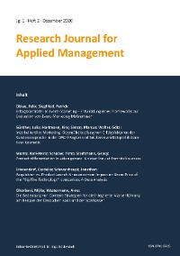 Cover Research Journal for Applied Management - Jg. 1, Heft 2