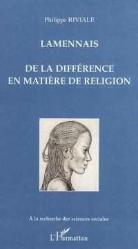 Cover Lamennais de la difference en matiere de religion