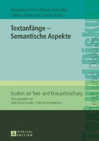 Cover Textanfaenge - Semantische Aspekte