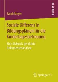 Cover Soziale Differenz in Bildungsplänen für die Kindertagesbetreuung