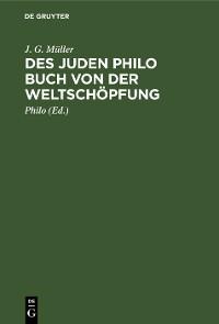 Cover Des Juden Philo Buch von der Weltschöpfung