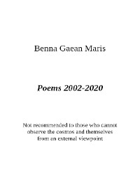 Cover Poems 2002-2020