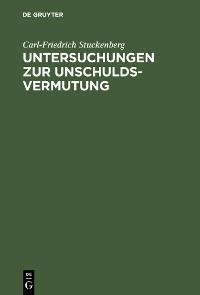 Cover Untersuchungen zur Unschuldsvermutung